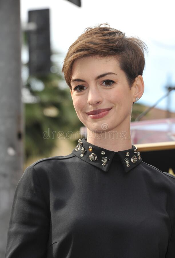 Anne Hathaway. LOS ANGELES, CA - December 13, 2012: Actress Anne Hathaway on Hollywood Blvd where actor Hugh Jackman was honored with the 2,487th star on the stock image