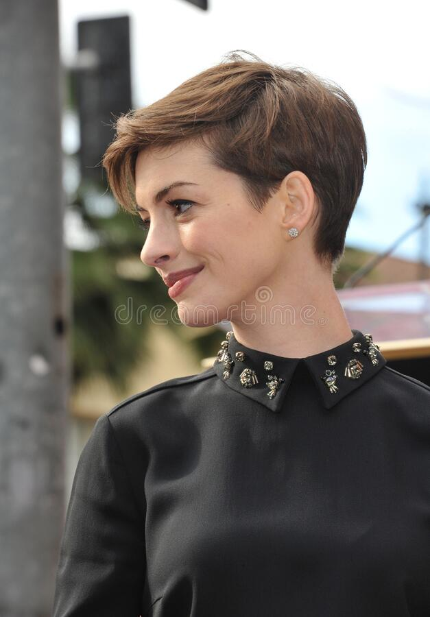Anne Hathaway. LOS ANGELES, CA - December 13, 2012: Actress Anne Hathaway on Hollywood Blvd where actor Hugh Jackman was honored with the 2,487th star on the royalty free stock images