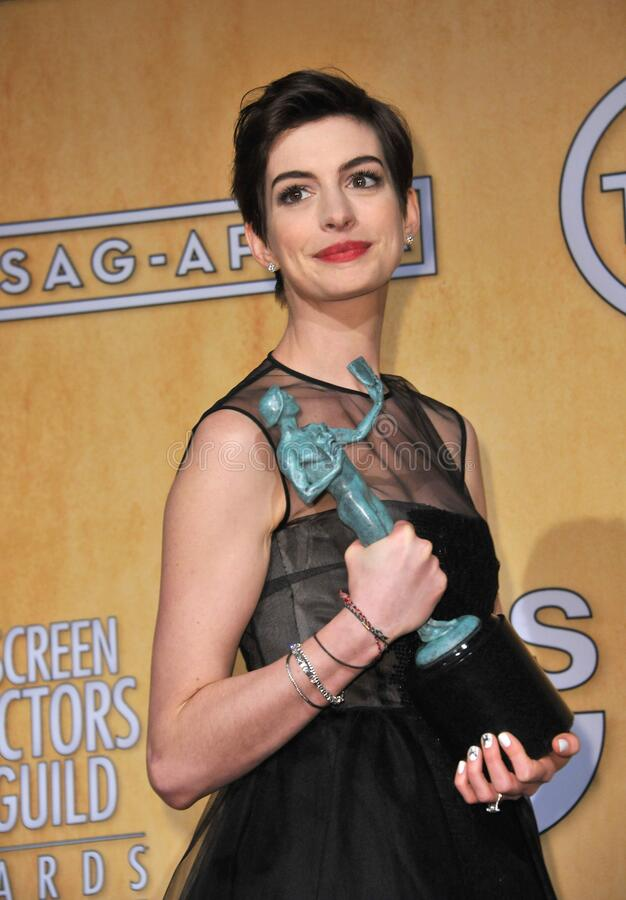 Anne Hathaway. LOS ANGELES, CA - January 27, 2013: Anne Hathaway at the 19th Annual Screen Actors Guild Awards at the Shrine Auditorium, Los Angeles..Picture stock image
