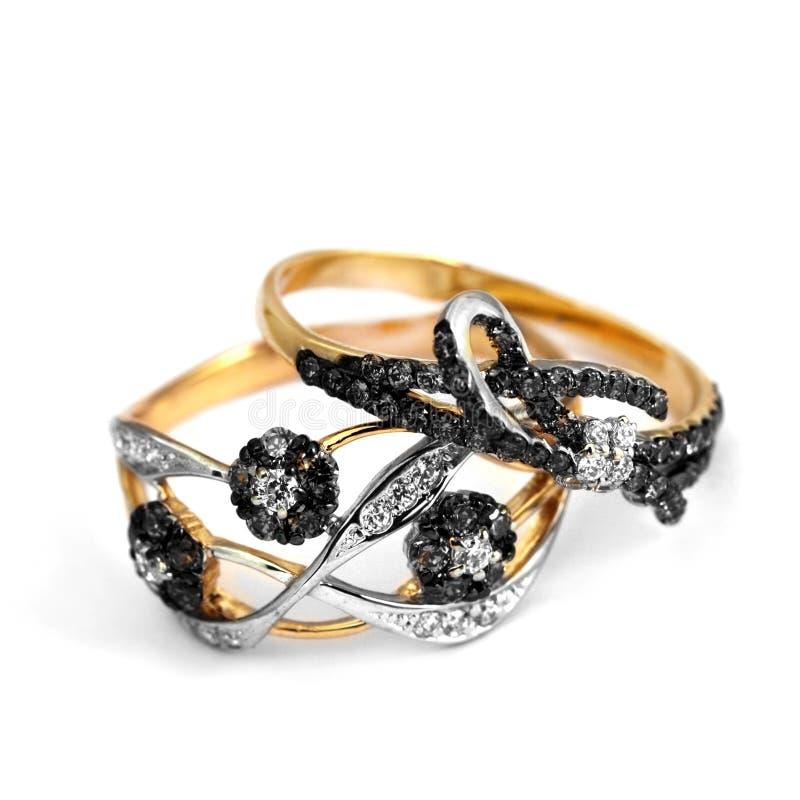 Anneau élégant des bijoux deux photographie stock
