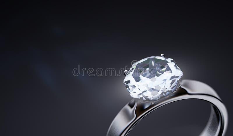 Anneau argenté de luxe avec le diamant sur le fond noir 3D a rendu l'illustration illustration libre de droits