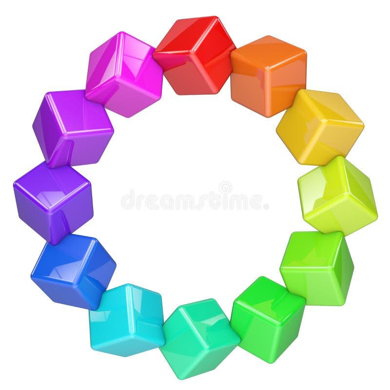 Anneau coloré abstrait de cubes illustration de vecteur