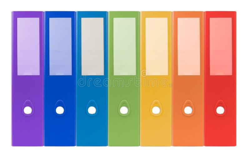 Anneau coloré reliure-plein avec le document et les affaires FNI de bureau photos stock