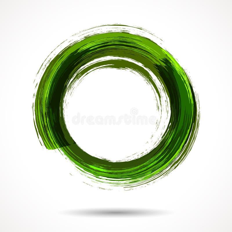 Anneau d'aquarelle peint par brosse verte fraîche illustration stock