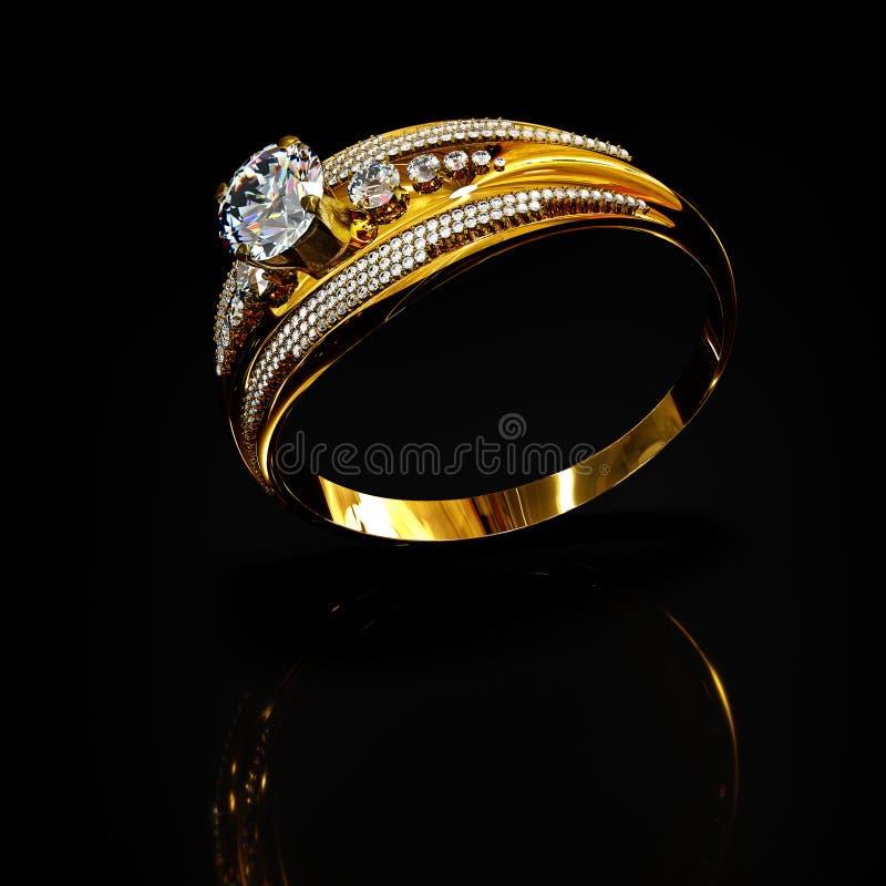 Anneau d'or avec des bijoux de gemme de diamant Cristal de luxe de bijouterie de bijoux images stock