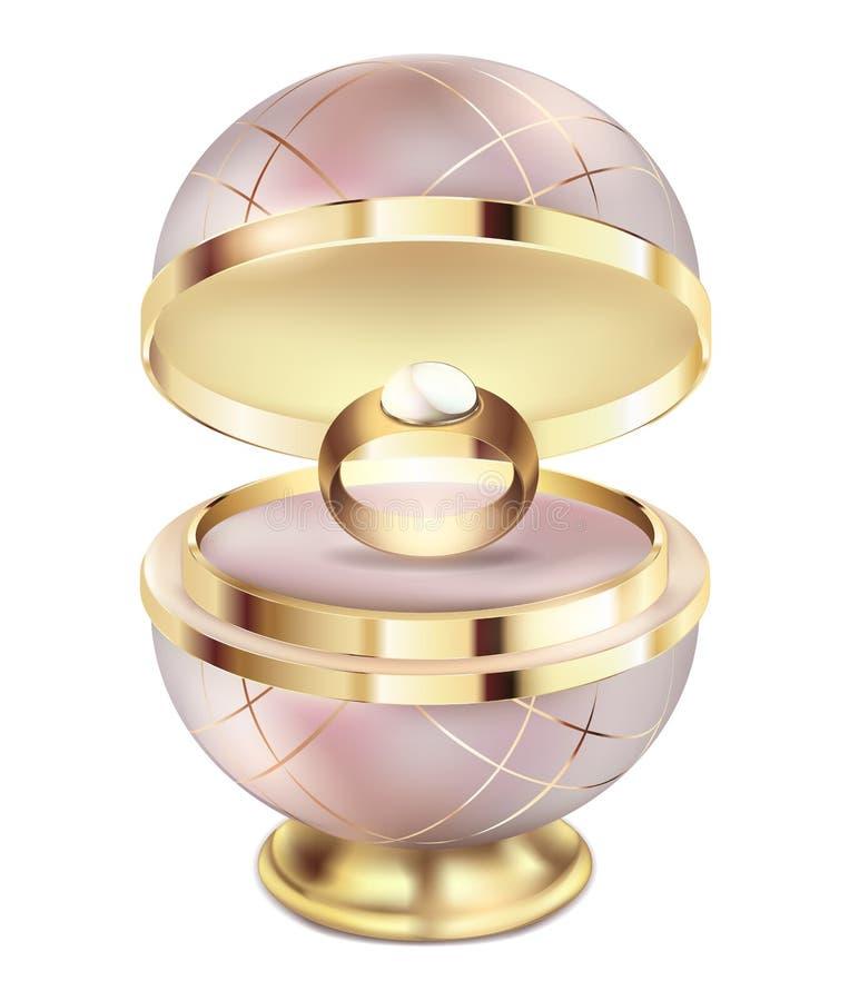 Anneau d'or dans une boîte de rose de cadeau Anneau de mariage avec une grande perle dans un paquet rond de beau cadeau rose avec illustration libre de droits