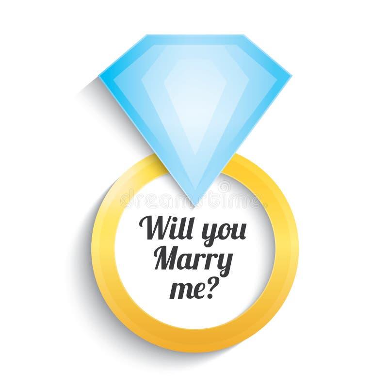 Anneau d'or de mariage avec le diamant. Fiançailles. illustration libre de droits