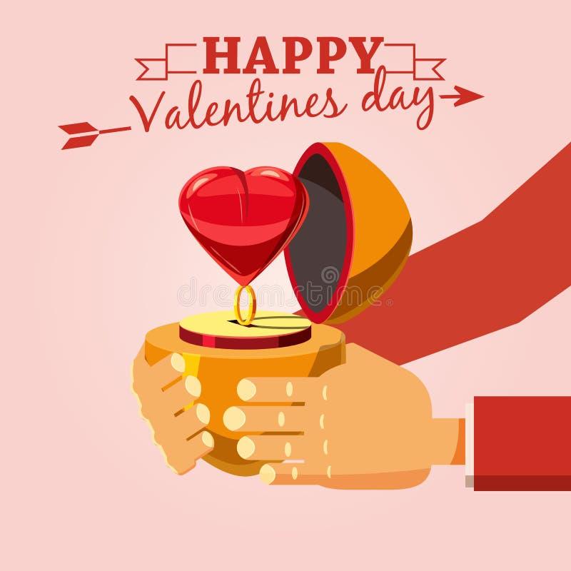 Anneau de décoration avec un coeur sur un cadeau de jour de Valentine s, style de bande dessinée, illustration de vecteur illustration de vecteur