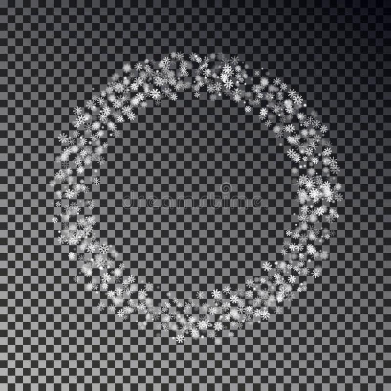 Anneau de Noël de vecteur en baisse de neige d'isolement sur le fond transparent Decoratio de cercle de flocon de neige illustration stock