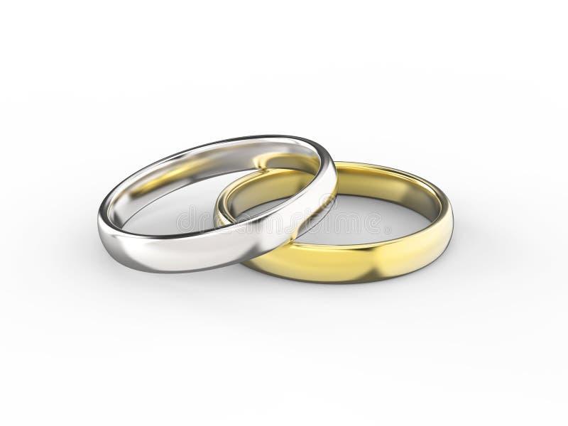 anneau de noces d'argent d'or de l'illustration 3D illustration libre de droits