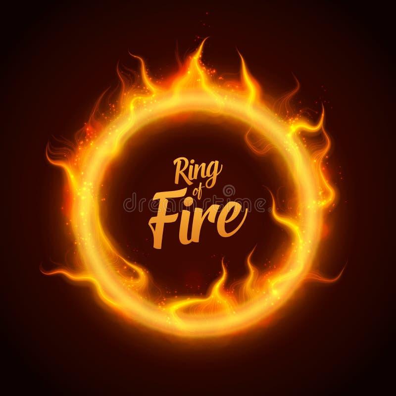 Anneau de vecteur du feu orange avec des étincelles Brûlure procédurale de flammes du feu autour de cercle rougeoyant Cercle brûl illustration stock