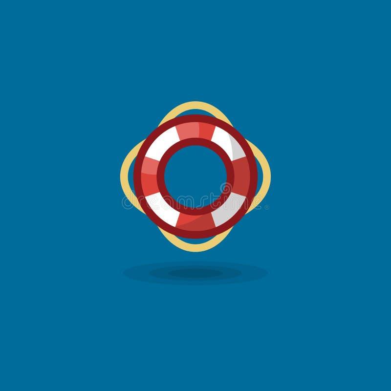 Anneau de vie d'icône de vecteur L'illustration une marine a coloré la balise de vie nautique d'isolement illustration stock