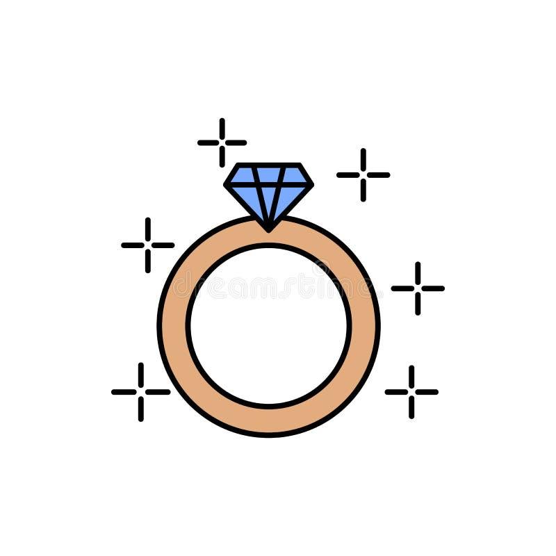 anneau, diamant, engagement, icône de couleur de mariage Élément des signes d'amour de couleur Icône de la meilleure qualité de c illustration libre de droits