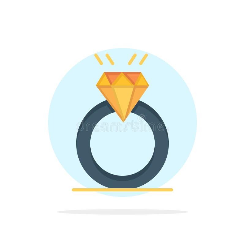 Anneau, diamant, proposition, mariage, icône plate de couleur de fond abstrait de cercle d'amour illustration stock