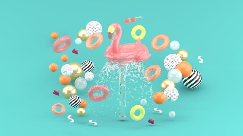 Anneau en caoutchouc de flamant flottant sur une fontaine entourée par les anneaux en caoutchouc colorés sur un fond bleu photo stock