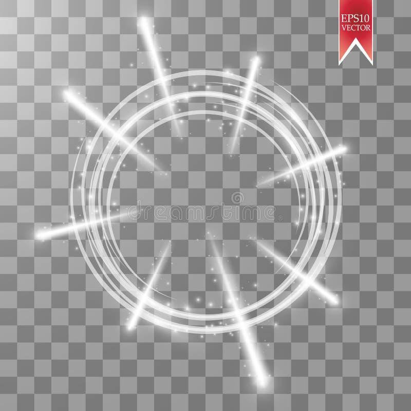Anneau léger de vecteur Le cadre brillant rond avec des lumières feu d'artifice et poussière traînent des particules d'isolement  illustration stock