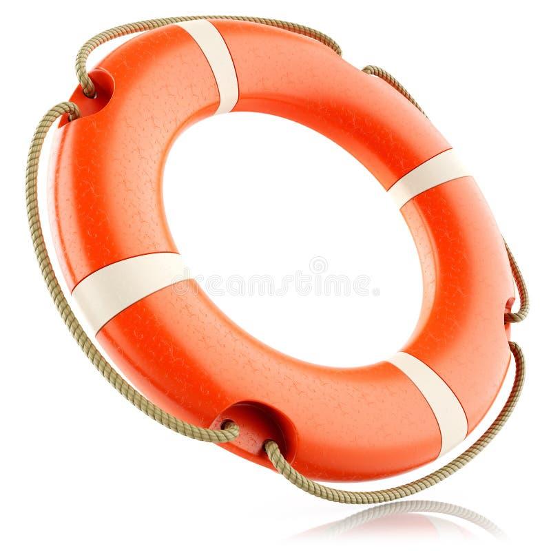 Anneau rouge de bouée de sauvetage d'isolement illustration de vecteur
