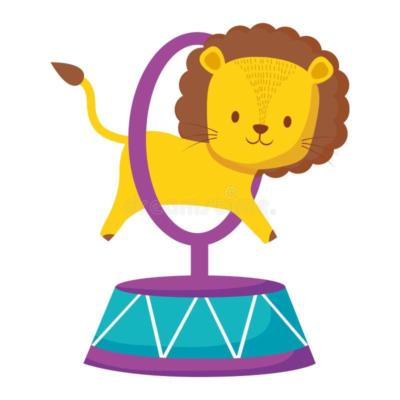 Anneau sautant de lion mignon de cirque illustration stock