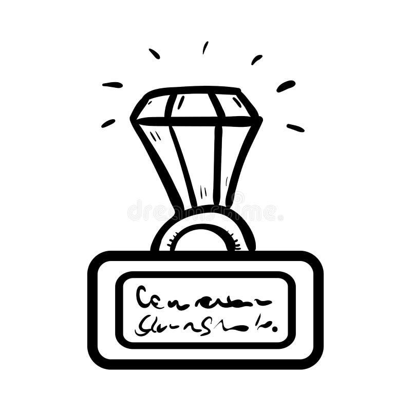 Anneau tiré par la main avec une icône de griffonnage de diamant Croquis noir tiré par la main symbole de signe Élément de décora illustration de vecteur