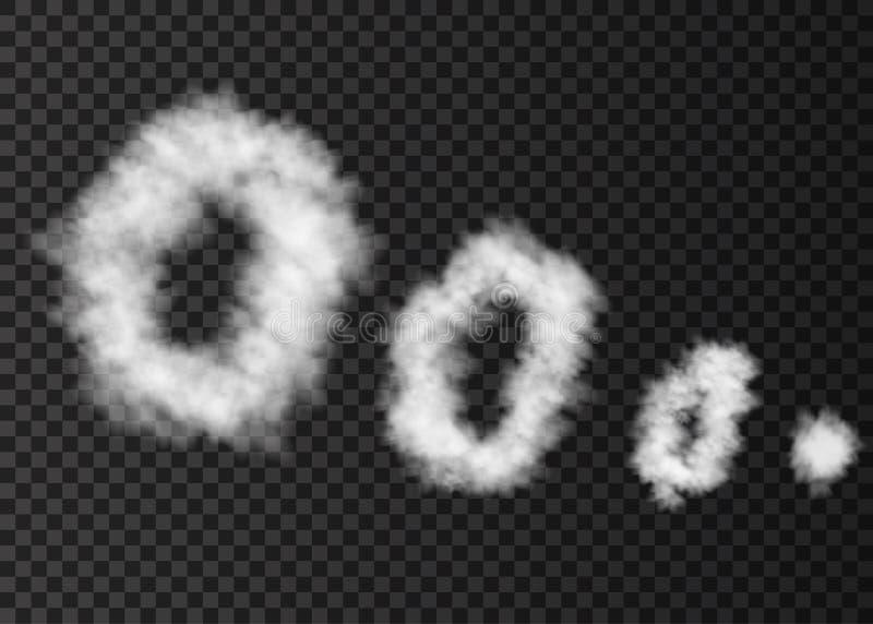 Anneaux blancs de fumée sur le fond transparent illustration libre de droits