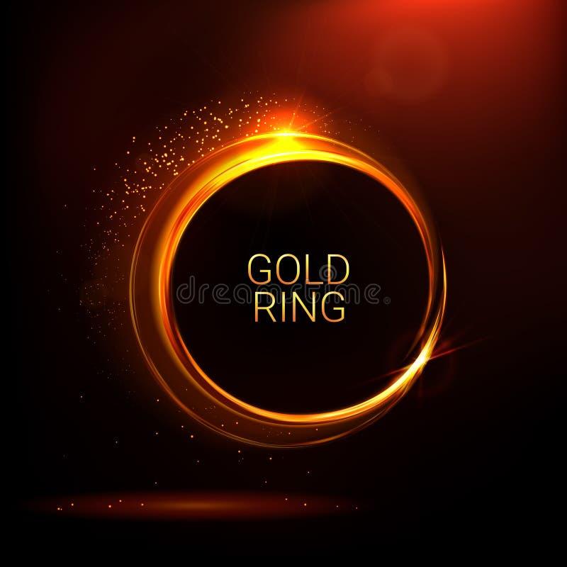 Anneaux brillants d'or Banni?re abstraite de vecteur de couleur Effets de la lumi?re, ?clat et r?flexions Calibre stellaire rouge illustration libre de droits