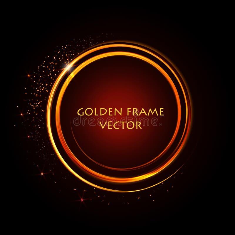 Anneaux brillants d'or Drapeau abstrait de vecteur Effets de la lumi?re, ?clat et r?flexions Calibre stellaire rougeoyant de la p illustration stock