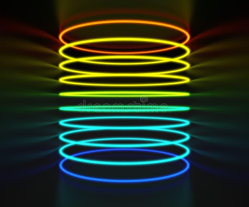 Anneaux colorés lumineux de lampe au néon dans la chambre noire illustration de vecteur