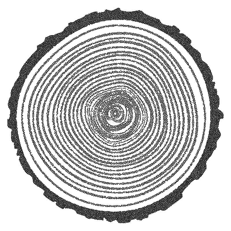 Anneaux d'arbre tramés de vecteur de Dotwork illustration stock