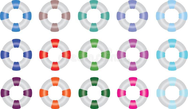 Anneaux de conservateur de vie dans des couleurs multiples illustration de vecteur