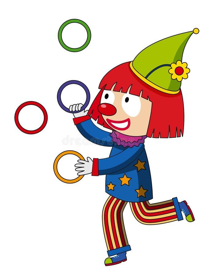 Anneaux de jonglerie de clown heureux illustration de vecteur