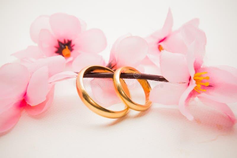 Anneaux de mariage et fleurs roses image stock