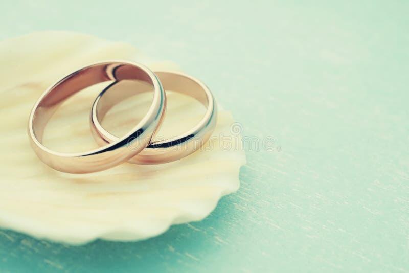 Anneaux de mariage sur le coquillage images stock