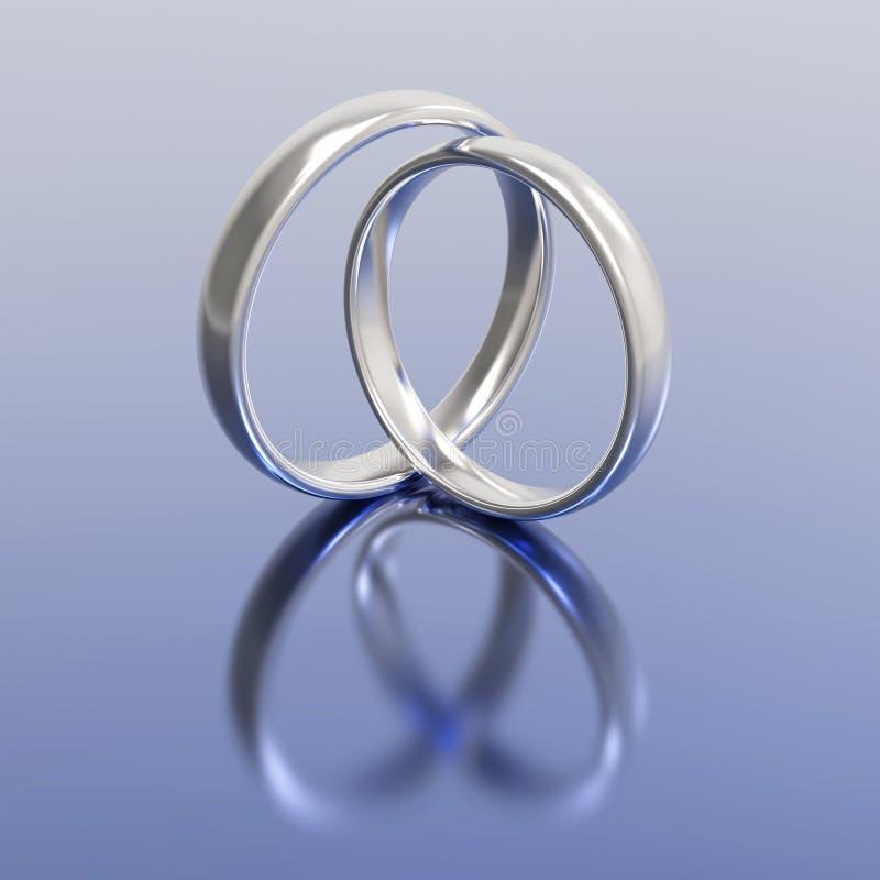 anneaux de noces d'argent d'or de l'illustration 3D illustration de vecteur