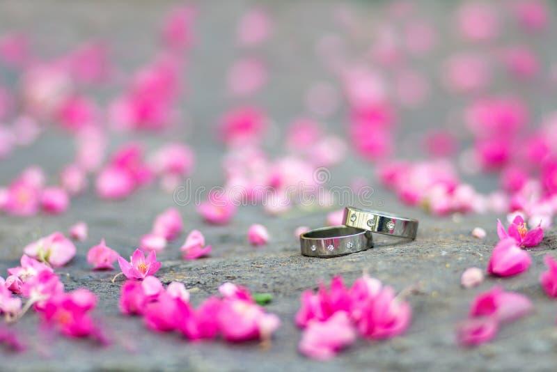 Anneaux de noces d'argent et fleurs roses sur le fond en pierre photographie stock