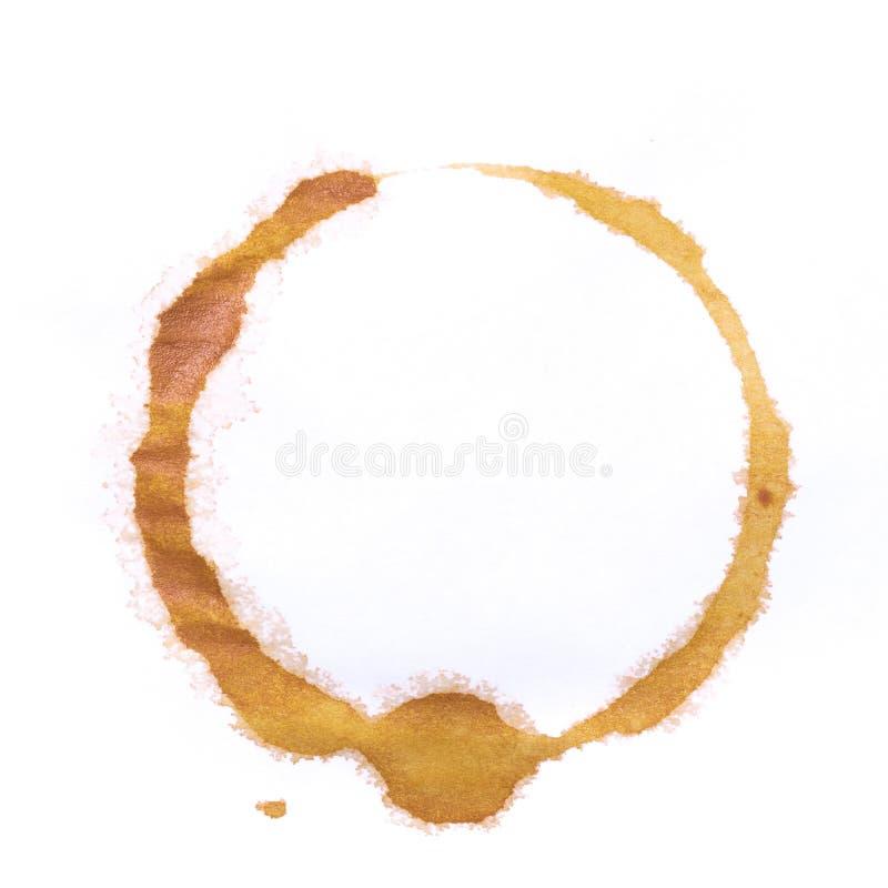Anneaux de tasse de pièce en t ou de café d'isolement sur un fond blanc image libre de droits