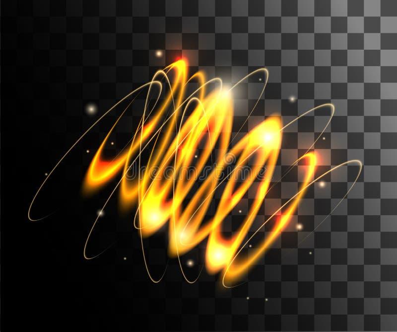 Anneaux légers rougeoyants d'effets de la lumière d'or avec la décoration de particules d'isolement la page de site Web de fond e photo libre de droits
