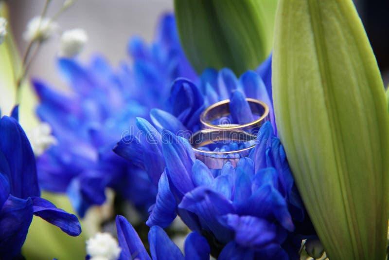Anneaux les épousant sur un bleu photographie stock