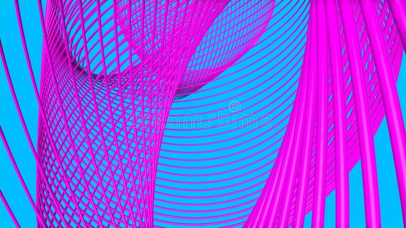 Anneaux tridimensionnels pourpres sur une turquoise l'illustration 3d rendent photographie stock libre de droits