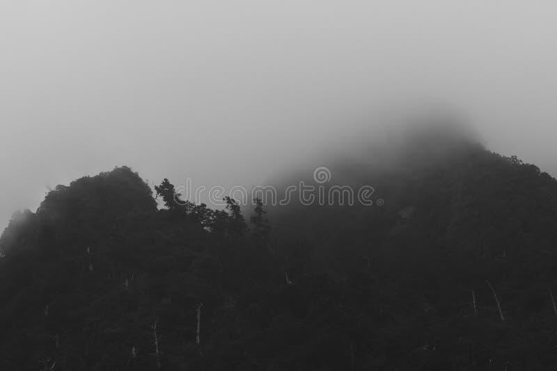 Annebbi sulla fotografia in bianco e nero della montagna dalla strada principale campestre nordica a Taoyuan, Taiwan fotografia stock libera da diritti