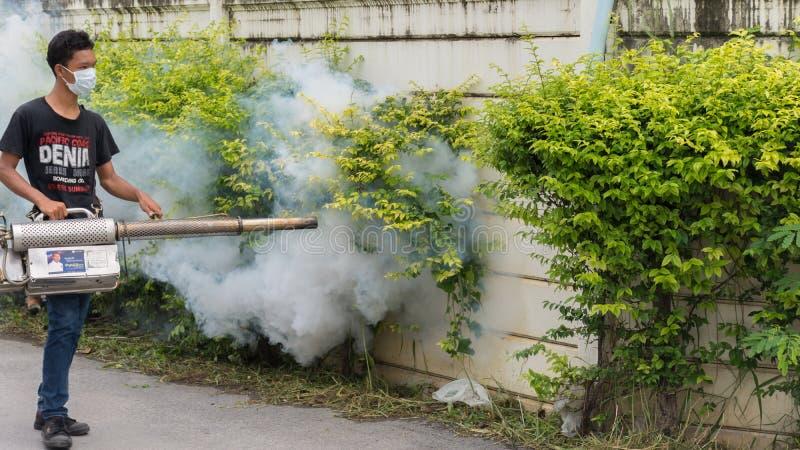 Annebbiando l'uccisione della zanzara dello spruzzo del DDT per il virus protegga immagini stock