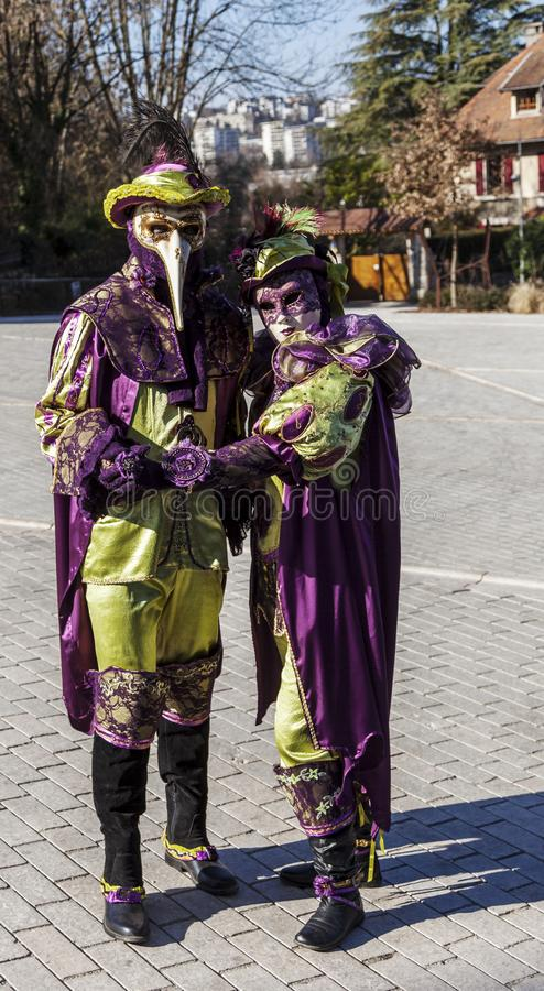 Disguised Couple - Annecy Venetian Carnival 2014 stock image