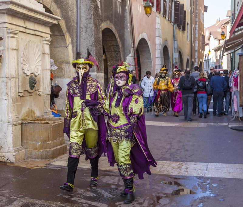 Disguised Couple - Annecy Venetian Carnival 2014 royalty free stock photos