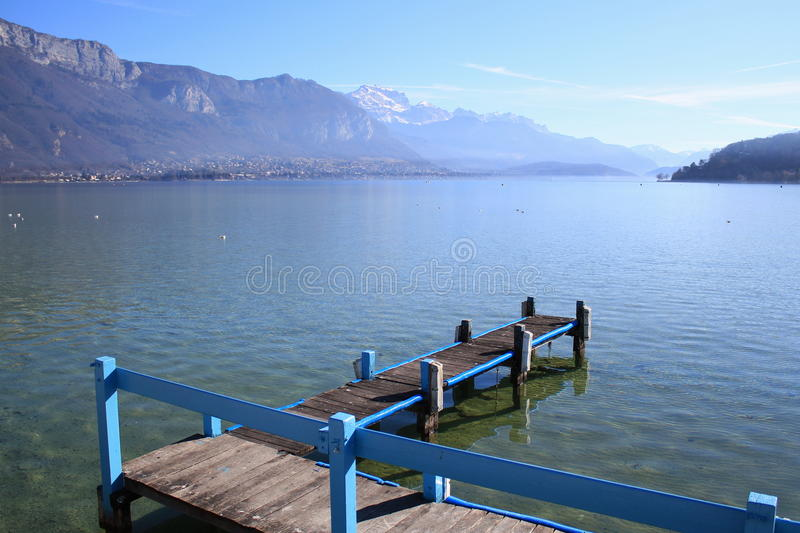 Annecy lake, France, and Alps stock image