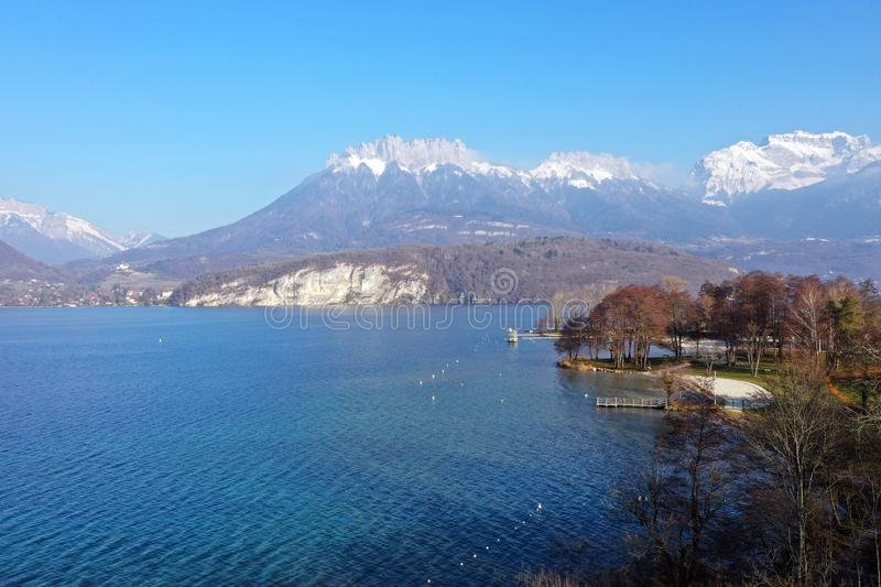 Annecy lake and mountains, landscape in Savoy royalty free stock images