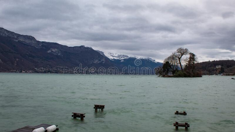 Annecy Lake in winter stock photography
