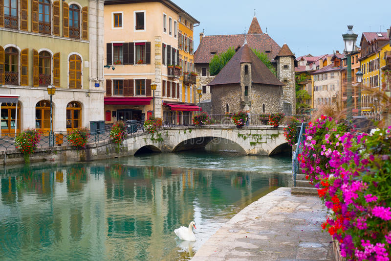 Annecy an a summer day. Cityscape of Annecy an a summer day royalty free stock images