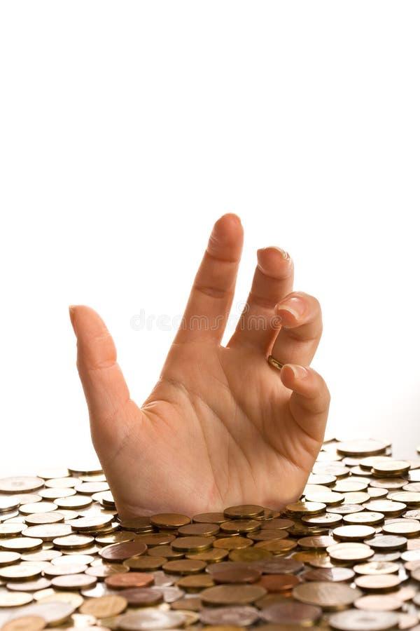Annegando nel concetto di debito immagine stock