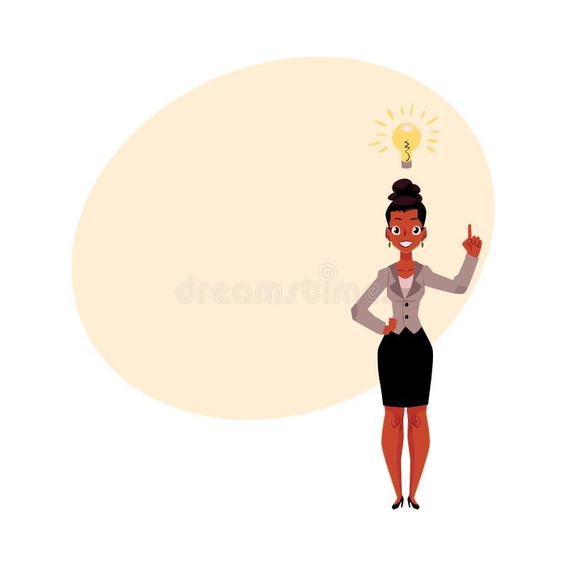Annerisca, donna di affari afroamericana che ha idea, ispirante il pensiero royalty illustrazione gratis