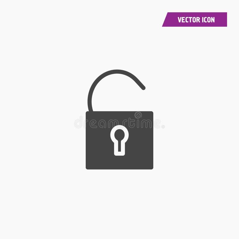 Annerisca il lucchetto aperto piano, icona della serratura illustrazione vettoriale