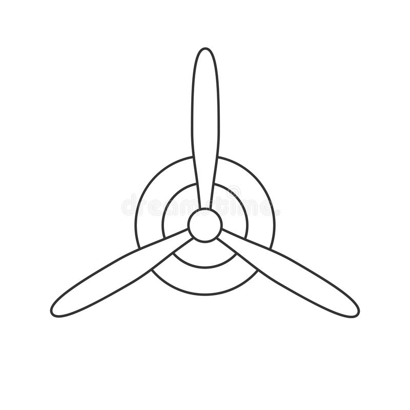 Annerisca l'icona isolata del profilo dell'elica su fondo bianco Linea icona di elica dell'aeroplano illustrazione vettoriale